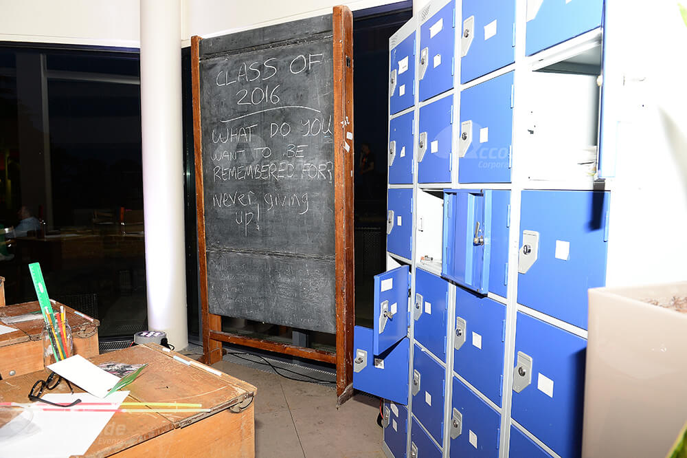 Lockers and blackboard at Back to School party event