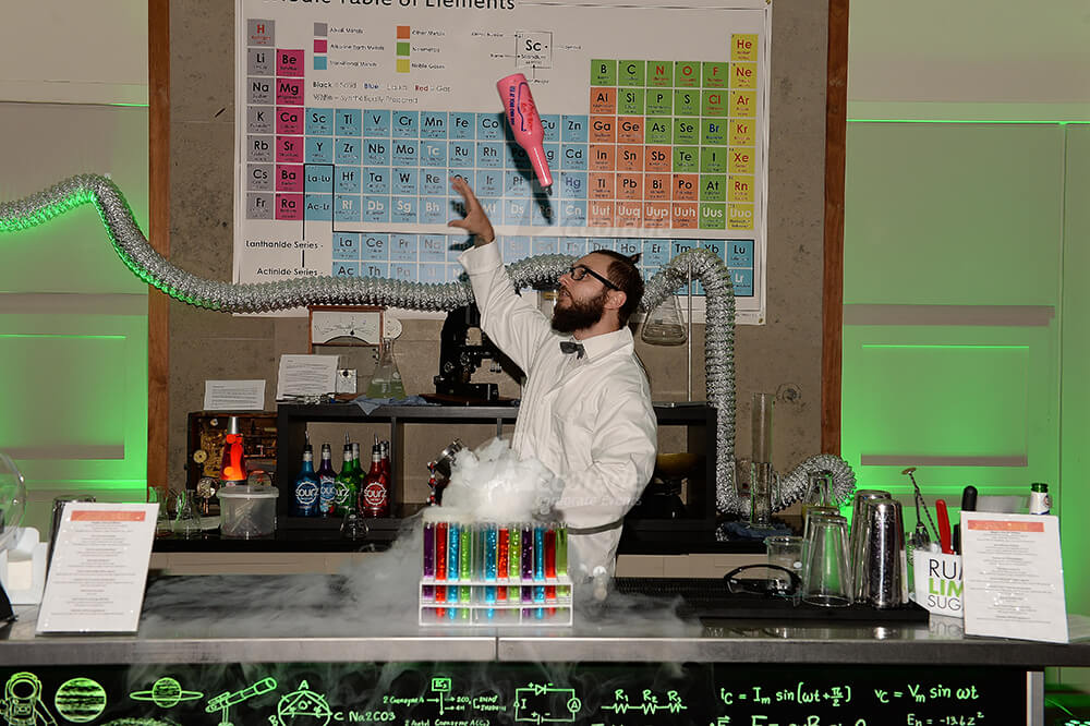 Science lab cocktail maker at Back to School party event
