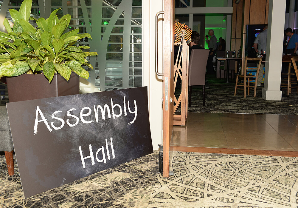 Assembly hall sign at Back to School party event