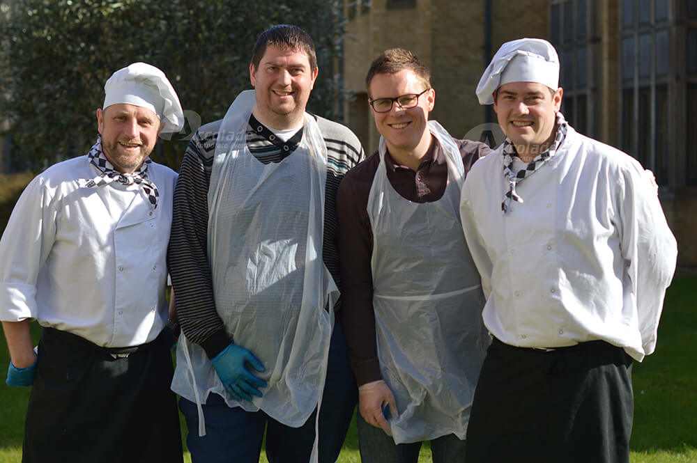 Chefs lined up at Team Bake Off team building event