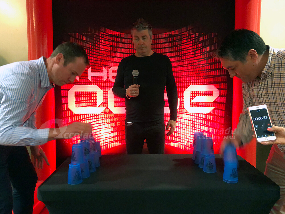 Head to head cup staking Beat the Cube team event