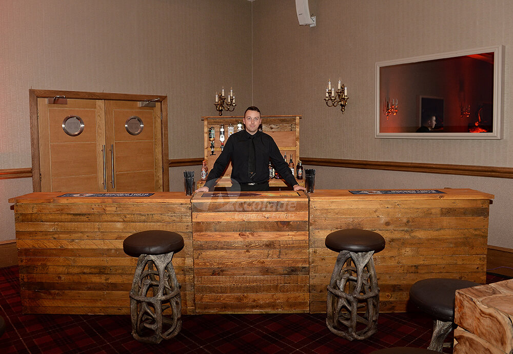 Whiskey tasting bar at a Scottish themed company party
