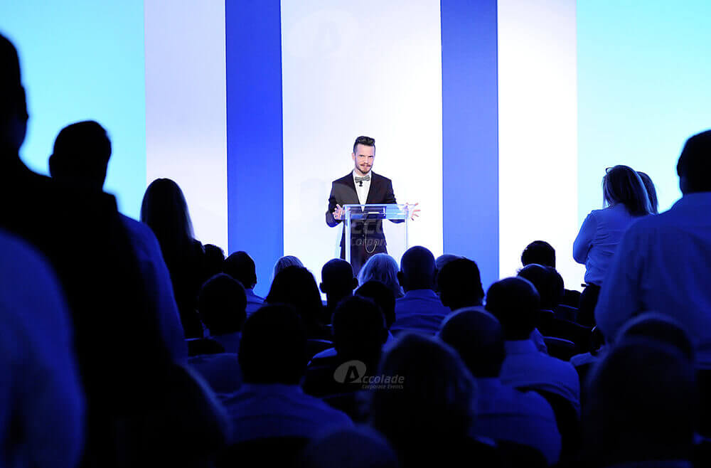 Man speaking at conference event