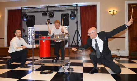 Energetic drummers at Crashing Waiters corporate event