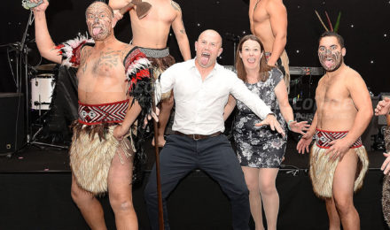 Haka Masters posing at corporate event
