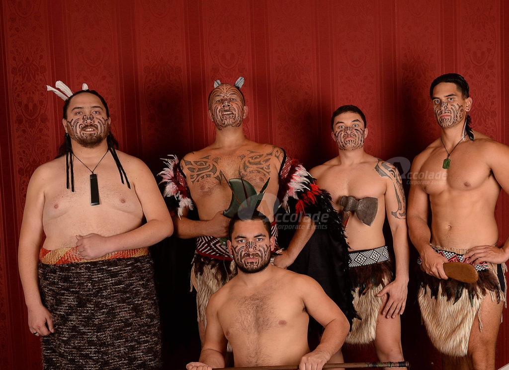 Group of Maori Haka master at a team building event
