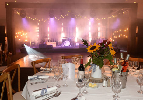 Country Chic Corporate Event Sunflowers and Stage Lighting