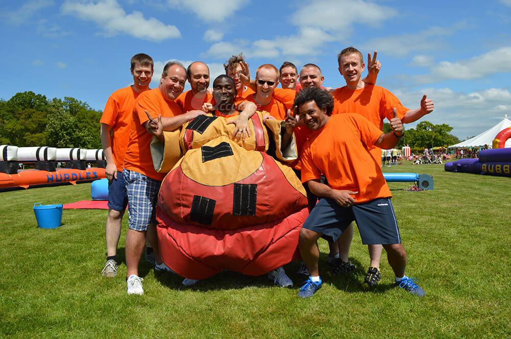 Orange team its a knockout total wipe out event