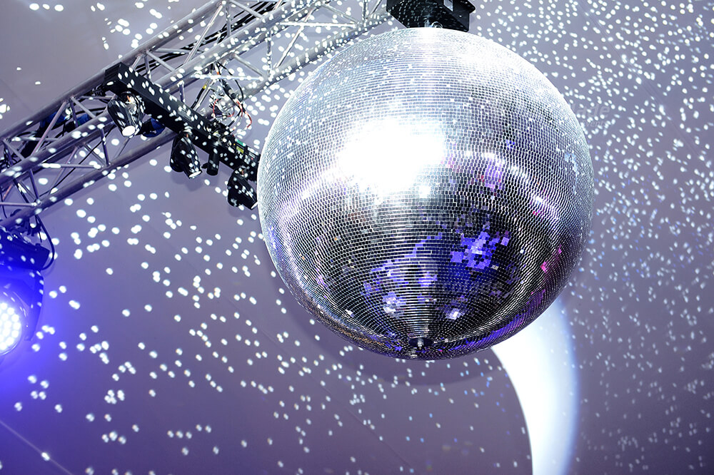Close up of glitter ball at Live Lounge corporate event