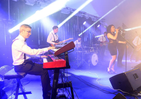 Band on stage at corporate event