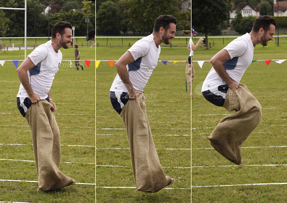 Man in the sack race at School Sports Day team building event