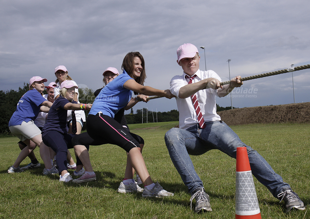Tug of war at a School Sports Day team corporate event