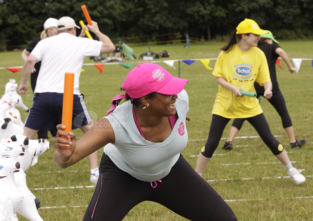 Relay race at a School Sports Day team building event
