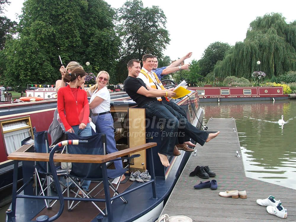 Team on a barge on a Treasure hunt team building event