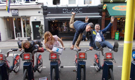 Acrobatics and bikes on a Treasure hunt team building event