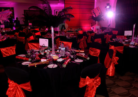Red and black room theme at a Viva Las Vegas company party