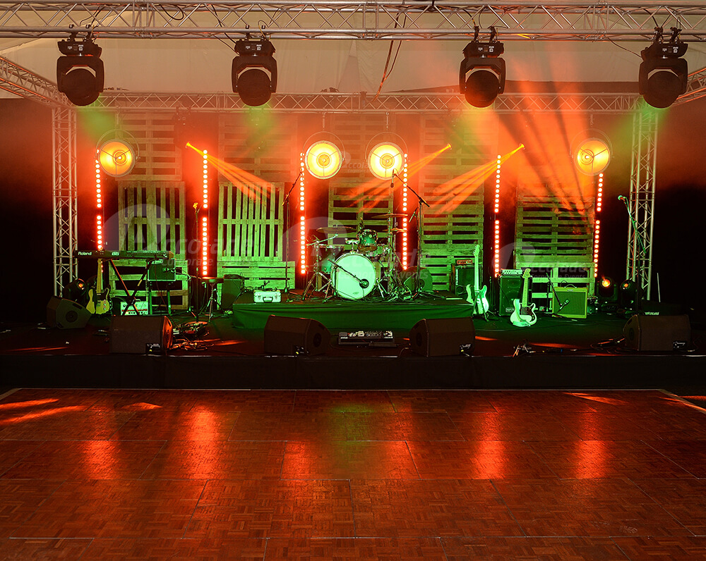 Stage set up at indoor festival corporate event