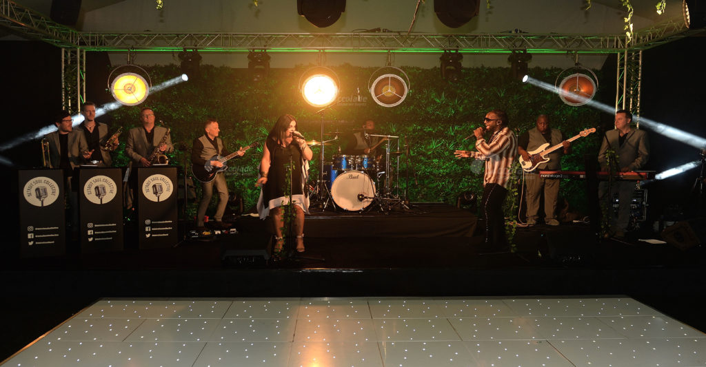 Soul band performing at corporate party event