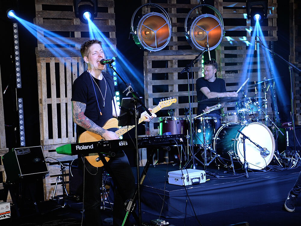 Band playing on stage at a corporate party eventy