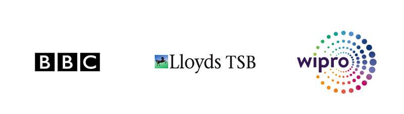 Logod of who we work with - BBC, Lloyds TSB, wipro