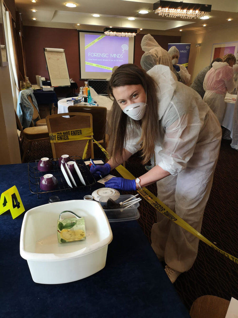 Searching crime scene at corporate event
