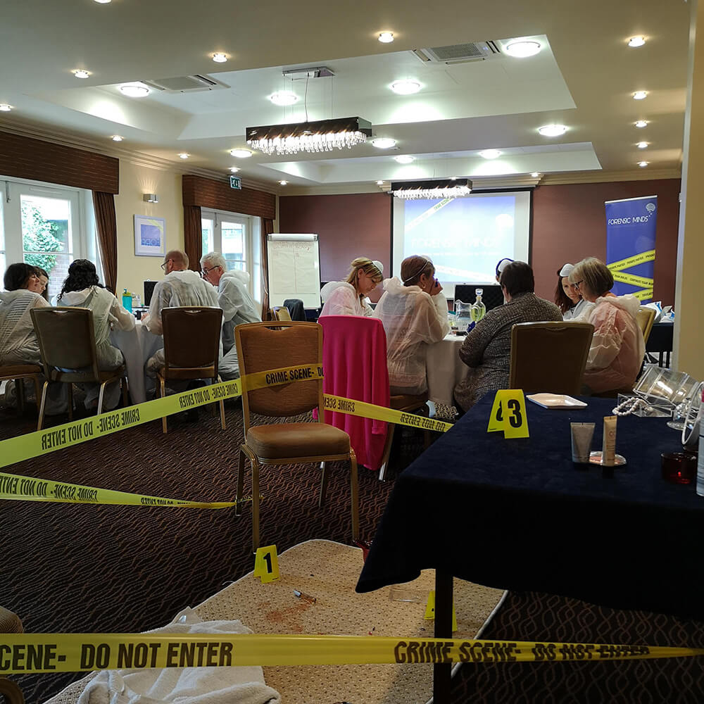 Crime scene at corporate team building event